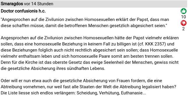 Reaktionen auf die päpstliche Billigung der homosexuellen Zivilehe 4